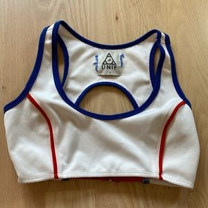 HAS BEEN SOLD logo bra crop top red white and blue